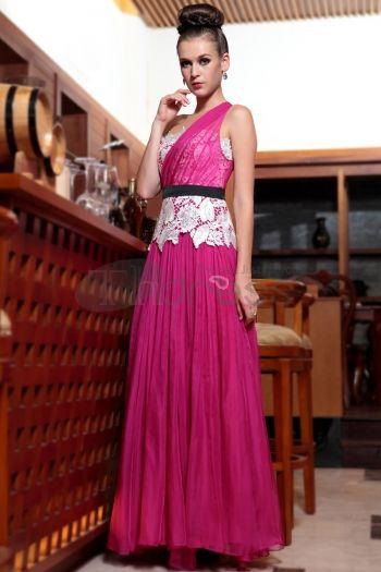 Abiti in Magazzino-una spalla trasporto veloce FALBALA rosa intenso formale indossare abiti da sera