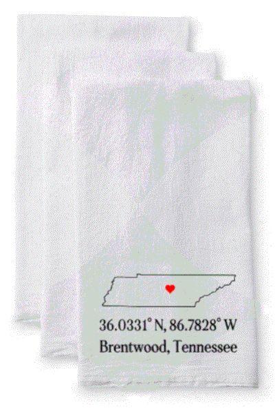 Tea Towel/Flour Sack Towel - City, State Map Coordinates