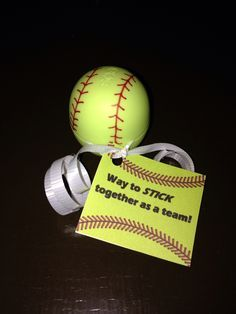 End of season coach's gift to players. EOS Chapstick as softball.