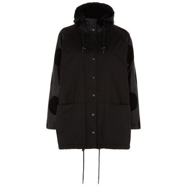Lazy Oaf Blackintosh Coat ❤ liked on Polyvore featuring outerwear, coats, long parka coats, long coat, polka dot coat, long parka and water resistant coat
