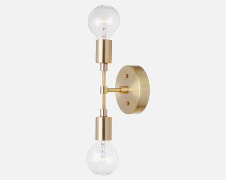 Double Bulb Sconce Light - Solid Brass, Minimal, Mid-Century, Industrial, Period Lighting, Vintage by RoanoakCo on Etsy https://www.etsy.com/listing/266595096/double-bulb-sconce-light-solid-brass
