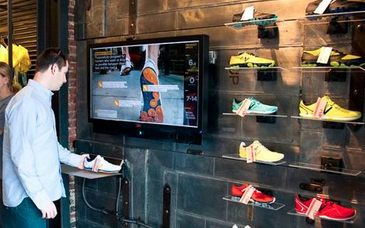 This is a feature of New Balance shoe stores, the idea behind it and why it is innovative is that the brand uses RFID tags on shoes which then can be scanned by the consumer. Once scanned information appears on the screen with relation to information regarding the shoe. This is both an innovative concept as well as being interactive and educational to the customer.