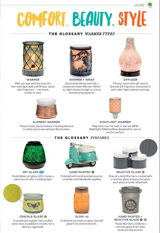 Scentsy  has a variety of warmer styles and sizes. Something for everyone.  Scentsy Catalog 2016 Fall & Winter - Available to purchase 9.1.2016. If you do not have a current consultant & want a catalog in your fabulous hands - let me know!