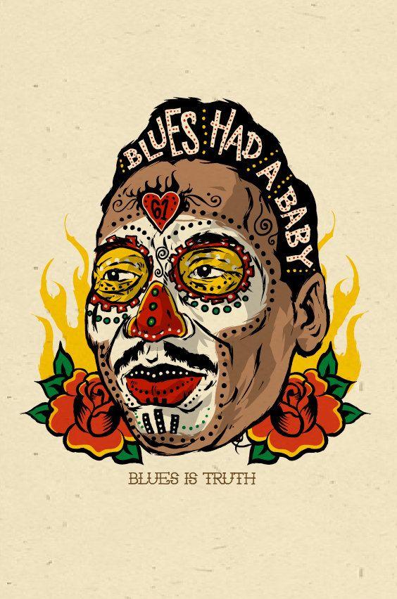 Muddy Waters - sugar skull folk art poster. This blues poster rocks!