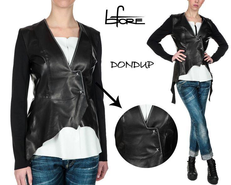 #giacca anthea #Dondup in tessuto corpo in 100% pelle e tessuto manica e fondo in viscosa elasticizzata #moda #donna #fashion #SS2015 #Bforeshop #shoponline #woman