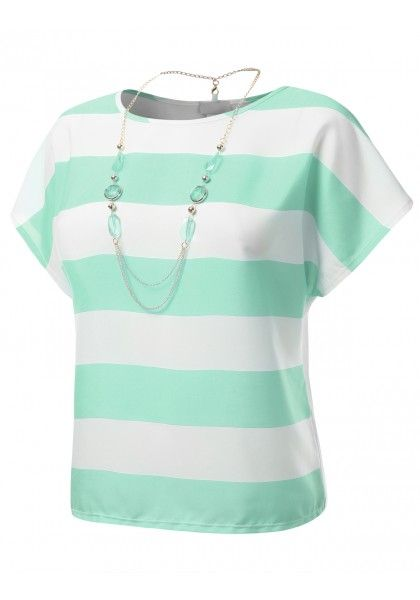 Thick Stripe Blouse with Removable Necklace #jtomsonplussize