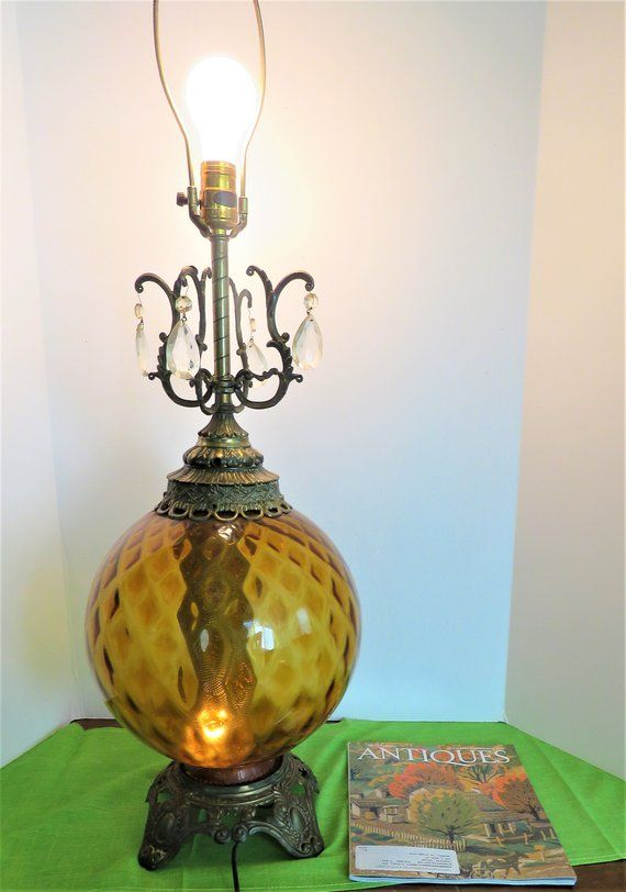 Amber glass Globe Table lamp, Vintage Mid Century Large