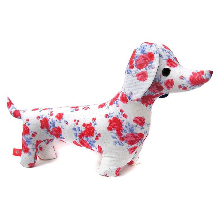 Muñeco de Trapo salchicha Pique rosas rojas
