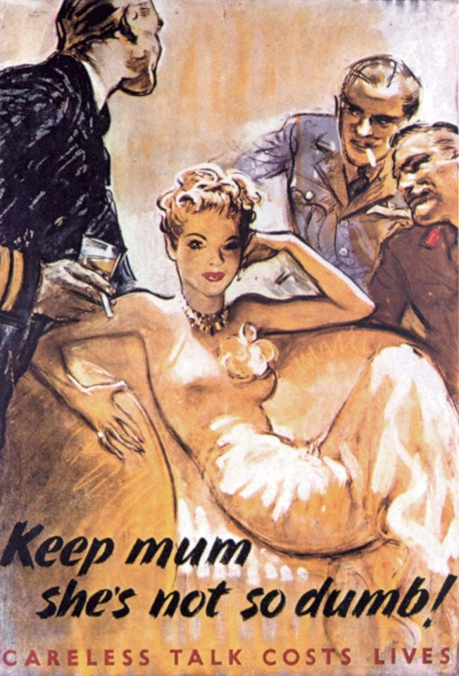 """An amusing British """"loose lips"""" poster by G. Lacoste warned against female spies, both at home and abroad."""