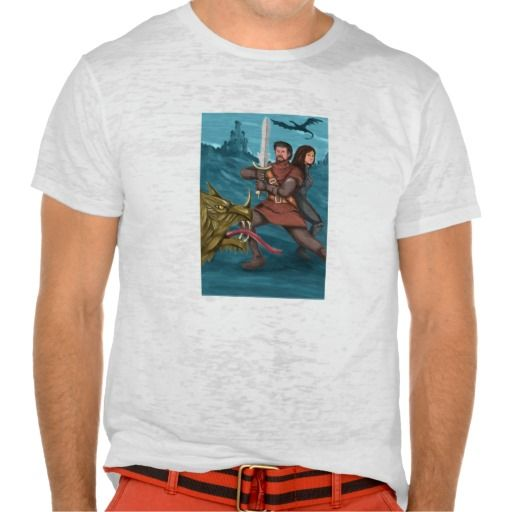 Cavalier and Princess Fighting Dragon Watercolor Shirt. Watercolor style illustration of a cavalier or knight brandishing a sword in fighting stance with a Princess behind him fighting a mythical dragon in the foreground and castle in background. #Watercolorstyle #CavalierandPrincessFightingDragon