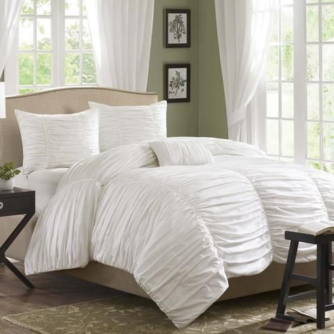 king size 4 piece comforter set in rouched white cotton u0026 microsuede