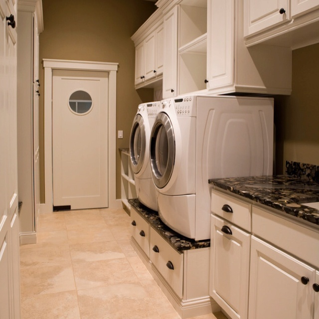 15 best images about laundry room ideas on pinterest for Washer and dryer in kitchen ideas