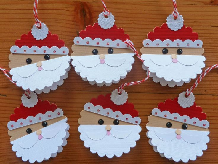 scallop punch, bird punch and border punch Santa tags