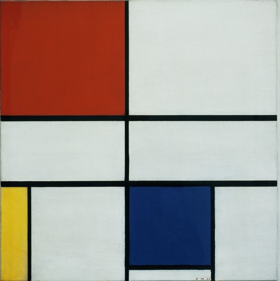 Piet Mondrian, 'Composition C'. How do you describe this work without sounding dry, academic and pretentious? Well to be honest it's quite difficult. Mondrian believed in a universal energy, a 'utopian ideal of spiritual harmony'. To represent this, he limited himself to the three primary colours, and only painted along the vertical and horizontal axes. For him these lines represent the fundamental opposites in nature: positive and negative; dynamic and static; masculine and feminine.