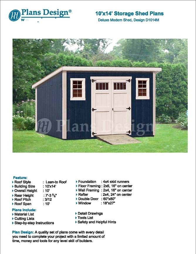 Modern Roof Style 10 X 14 Deluxe Shed Plans Design D1014m Material List Roof Styles Shed Plans Modern Shed