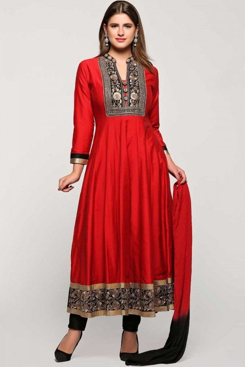 Online sales, Anarkali churidar polysilk asian prom long suits, Red zari embroidered dress now in shop. Andaaz Fashion brings latest designer ethnic wear collection in UK   http://www.andaazfashion.com/salwar-kameez/anarkali-suits/blue-with-pink-polysilk-anarkali-churidar-suit-with-dupatta-1737.html