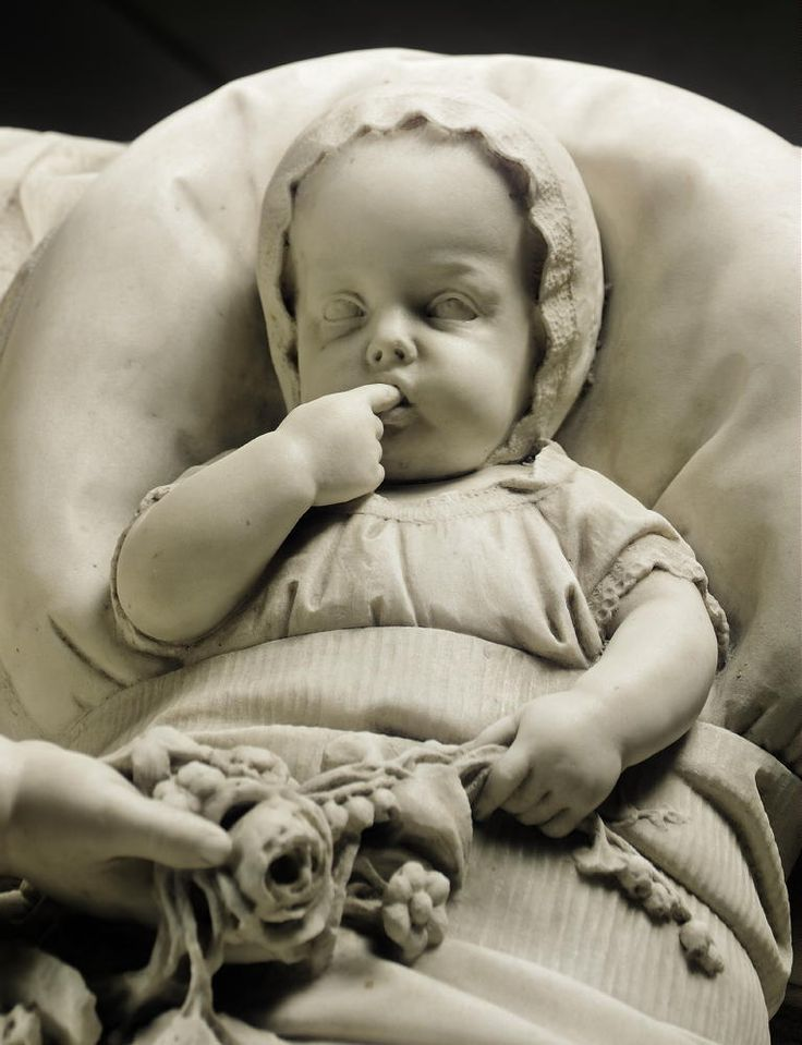 """ANTONIO TANTARDINI (ITALIAN, 1829-1879)An Extraordinary Italian Marble Sculpture of """"A Young Child and a baby in a wicker crib"""""""