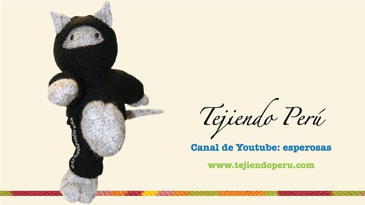 Tutoria:l cómo tejer un gato ninja en dos agujas o palitos (knitted ninj...