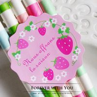 2014 FREE SHIPPING strawberry flower round paper sticker label for candy sweet food packaging sticker 270pc/lot  d:4cm