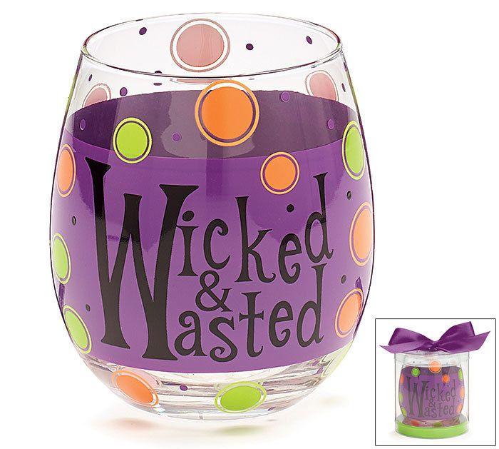 New Wicked Wasted Stemless Wine Glass 16 Oz Halloween Party burton+ BURTON Gift #burtonBURTON
