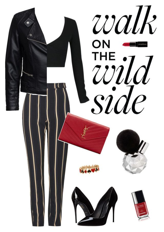 """Untitled #14"" by brandonaddict on Polyvore featuring WithChic, Topshop, Sisters Point, Dolce&Gabbana, Yves Saint Laurent, Smashbox, Alison Lou and Chanel"