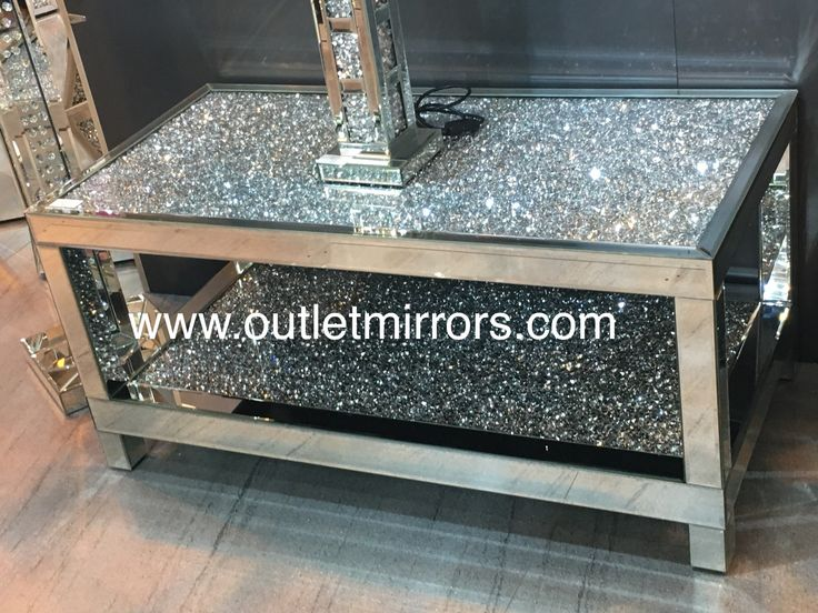 Diamond crush crystal nest of 3 tables item in stock in