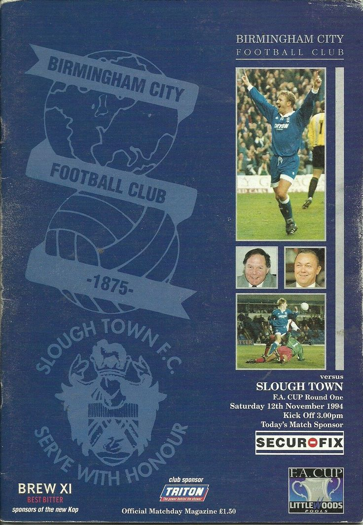 BIRMINGHAM CITY V SLOUGH TOWN 12/11/1994 FA CUP 1ST ROUND
