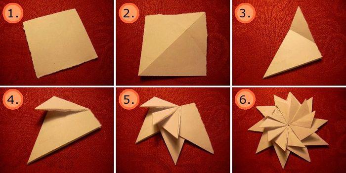 Deze ster bestaat uit 10 modules die je in elkaar kan kleven of nieten.  Begin met een vierkant stuk papier. Volg dan stap 1 tot en met 6 om deze ster te vouwen.  Versier met glinsters of kleur in!