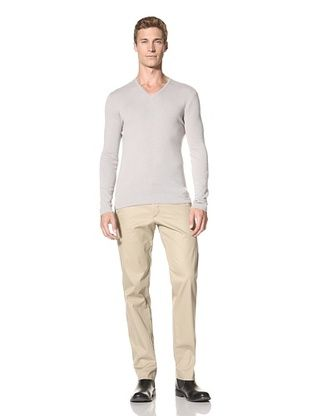 John Varvatos Collection Men's V-Neck Sweater with Elbow Patches (Clay)