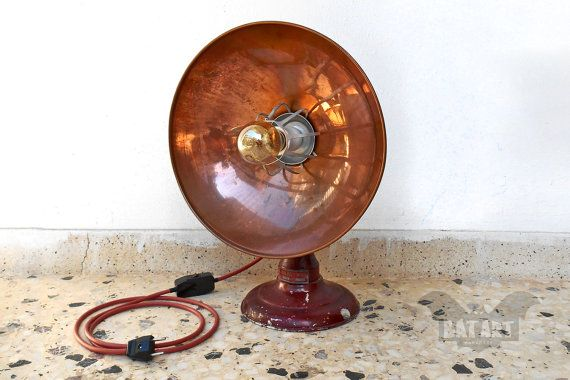 BAT™ ART Desk Floor lamp - Vintage copper heater - Lighting Fixture - Antique heater lamp - E27 porcelain lamp holder - Copper desk lamp - FREE country electric plug for EU, and UK - Product Dimensions 42cm Height x 32cm Diameter, by BatLab on Etsy