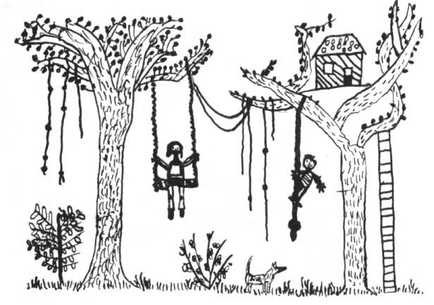 swings and ropes in trees