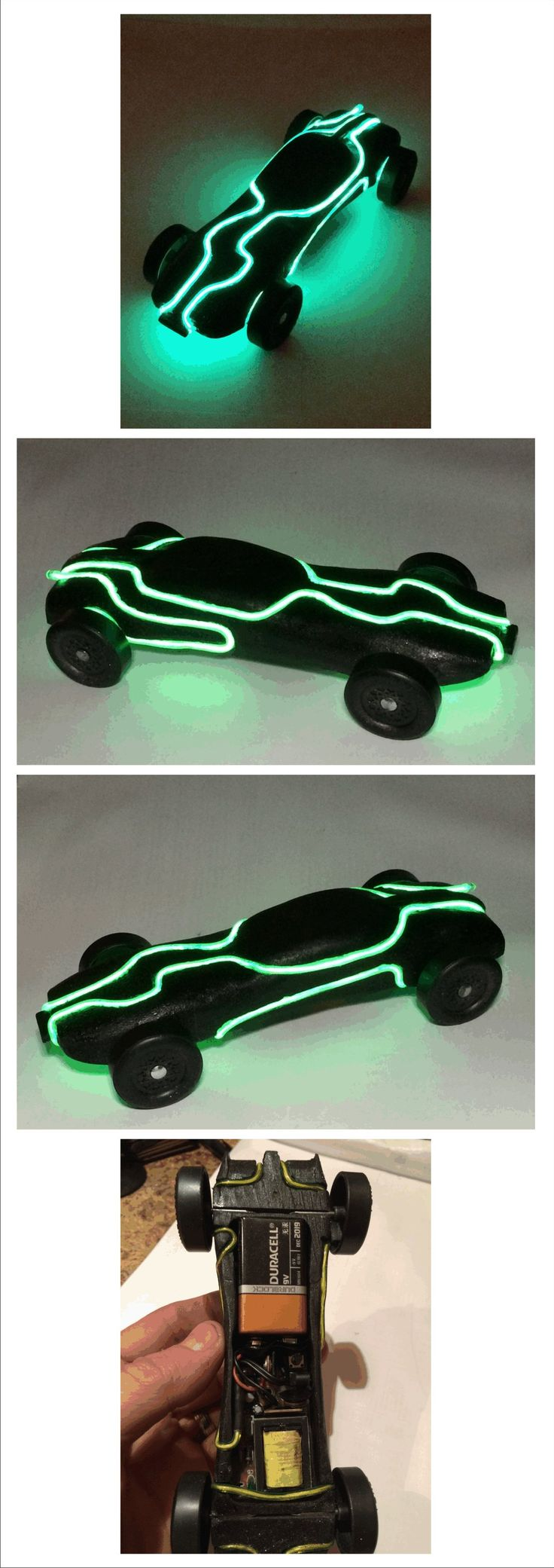 "TRON Legacy Lightrunner Pinewood Derby car.  My 7 year old came up with the idea and challenged me to help him make it. It was 5 oz on the nose and received an award for ""Best Showmanship"""