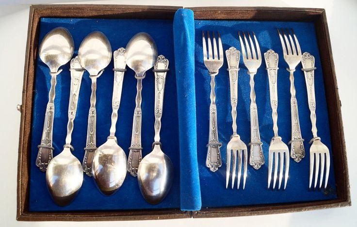 Vintage set of tableware spoons forks- Soviet dishes box 6 forks 6 spoons- rare wedding gift- serving cutlery set 70s USSR- Christmas gift by ClockArtVintage on Etsy https://www.etsy.com/listing/472140662/vintage-set-of-tableware-spoons-forks