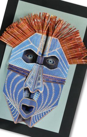 """Pop-Up Tribal Masks"" art lesson plan by Sharpie and Neenah Paper for grades 4-12. Students will experiment with symmetrical pop-up techniques, resulting in the creation of a tribal-type mask.:"