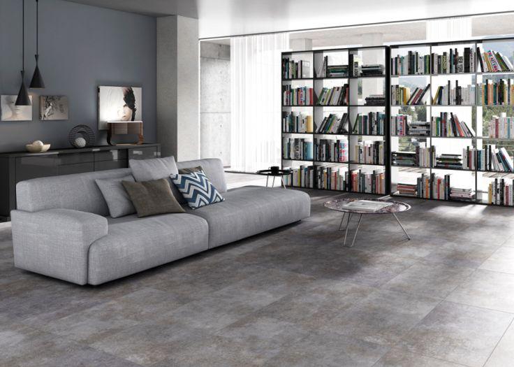 Carrelage interieur Corten imitation ciment ©Tau Ceramicas