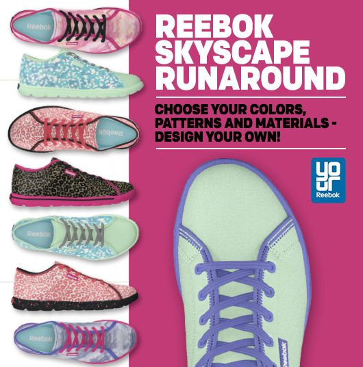 Enter to win a custom pair of Reebok Skyscape Runaround shoes.  #styleneverstops