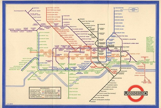London Tube Map, 1933. Harry Beck's Underground map solved the problem of how to represent clearly a dense, complex interweaving of train lines. Placing the stations at similar intervals regardless of their true locations, Beck;s map was dismissed as too revolutionary when it was first submitted.