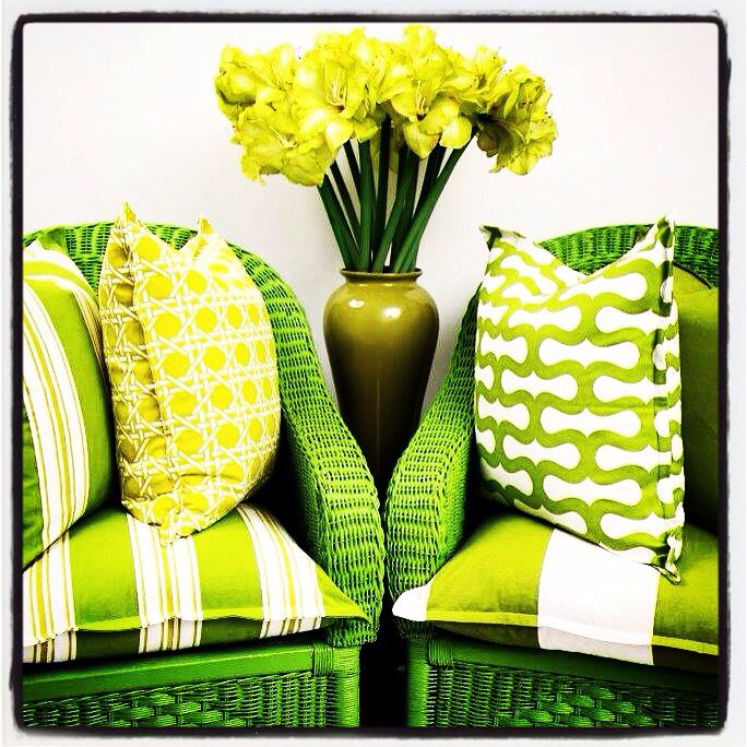 Stylish Lime Green painted Wicker Chairs with new Green Geometric Range Cushion Range...