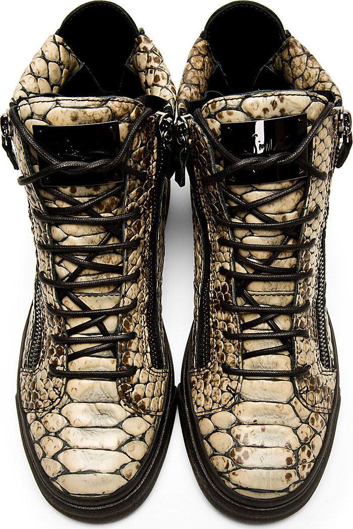 Giuseppe Zanotti: Beige Snakeskin-Embossed High-Top Sneakers