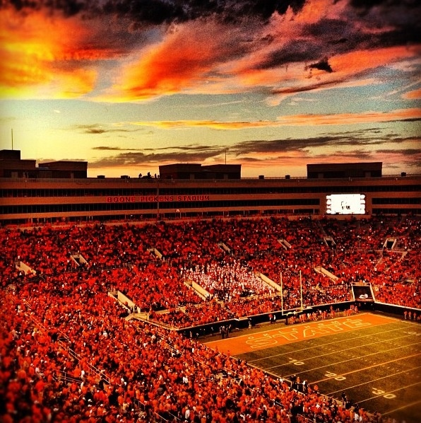 Beautiful sunset at Boone Pickens Stadium. Photo Credit