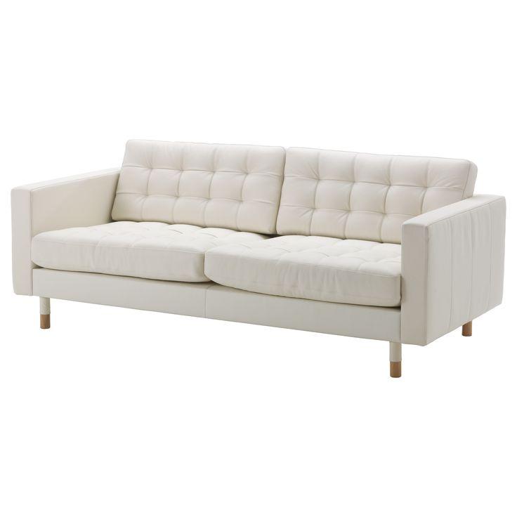 IKEA - LANDSKRONA, Canapé 3 places, Grann/Bomstad blanc, bois, , Zones de contact couvertes de cuir fleur souple teinté dans la masse de 1,2 mm d'épaisseur très moelleux et doux au toucher.Les surfaces externes sont recouvertes d'un tissu résistant doté d'un revêtement qui ressemble au cuir.Coussins d'assise garnis de mousse haute résilience et de fibres de polyester pour un confort renforcé.Les accoudoirs amovibles permettent d'ajouter facilement une…