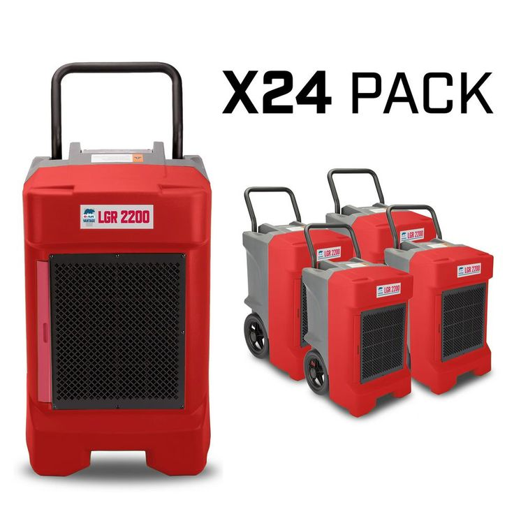 B-Air 225-Pint 400 CFM Commercial LGR Dehumidifier for Water Damage Restoration Mold Remediation, Red, 24-Pack, Reds/Pinks