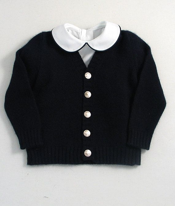 Yorkshire Lambswool Navy Blue Little Boy's Cardigan