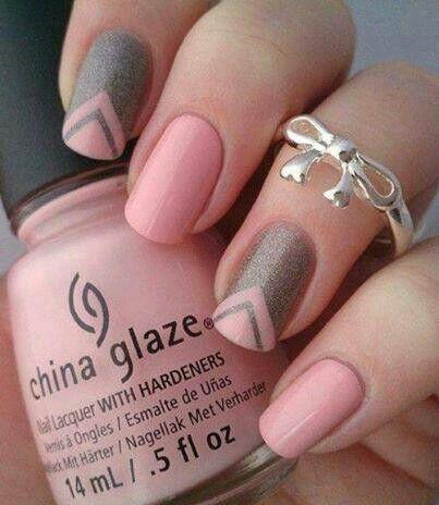 Chic, sweet, cute, matte pink & gray simple nail art