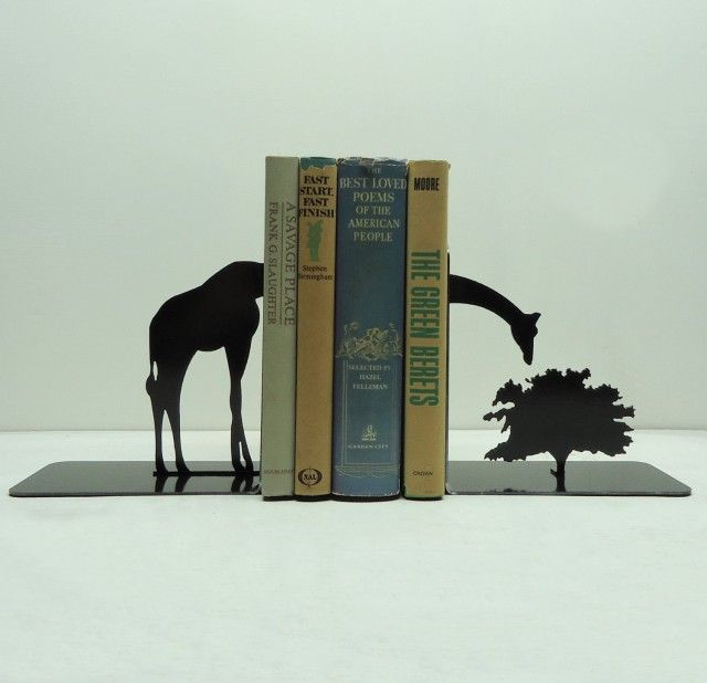 Made from solid steel, these bookends are heavy enough to hold up your reading collection. Sold in a set of two pieces, finished in hammered black.