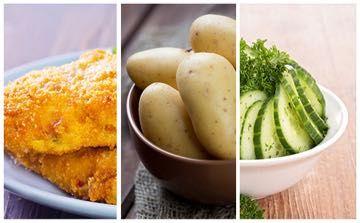 Recette de Poulet pané, pommes de terre et salade de concombre