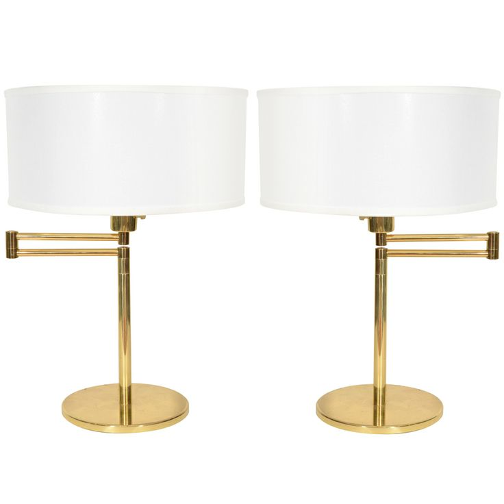 1960s pair of brass swing arm table lamps by hansen