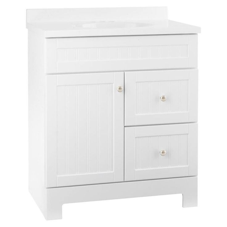 Style Selections Ellenbee White Integral Single Sink Bathroom Vanity with Cultured Marble Top (Common: 30-in x 19-in; Actual: 31-in x 18.5-in)