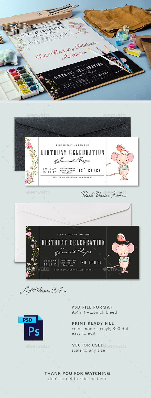 144 best invitation card templates images on pinterest card ticket birthday party invitation card stopboris Gallery