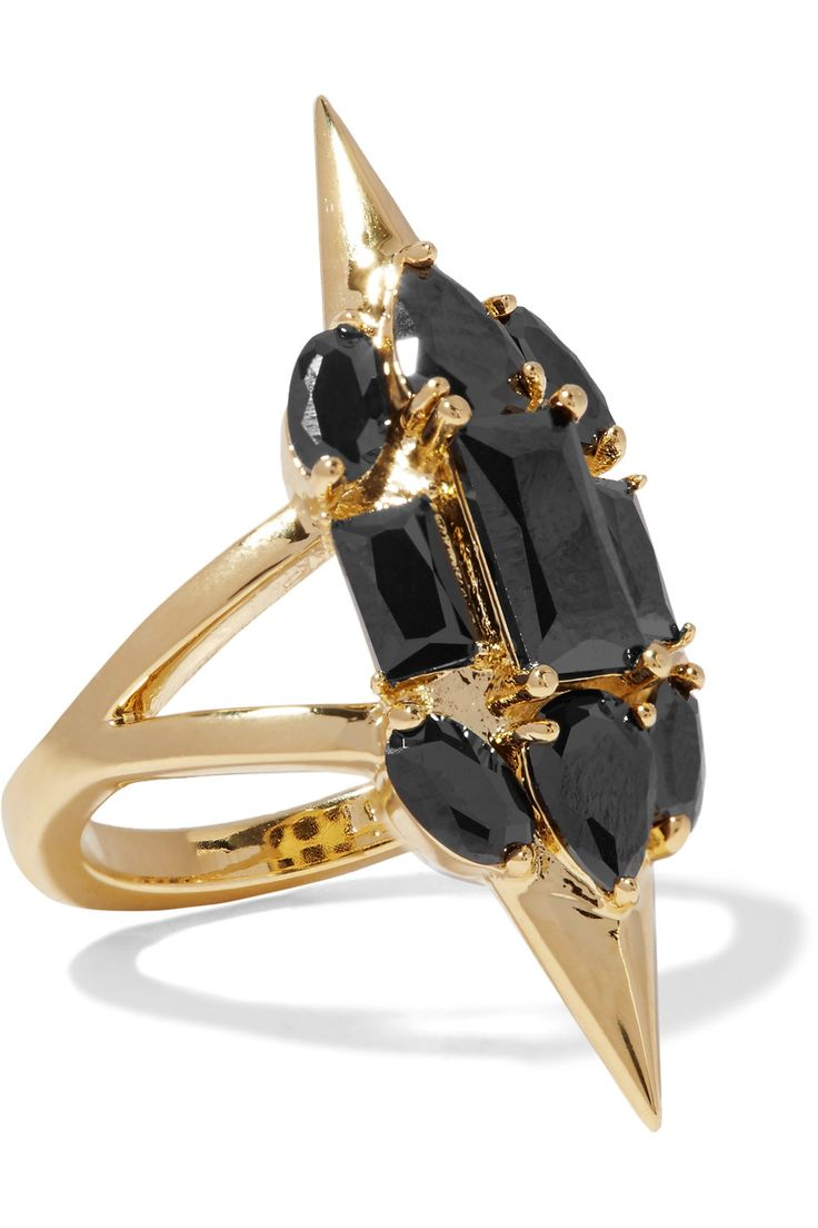 Sharp Edges gold-plated crystal ring | Noir Jewelry | US | THE OUTNET $22